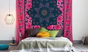 refreshing bedroom decorating idea using tapestries bohemian