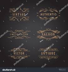set retro ornaments label luxury vintage stock vector 622086320