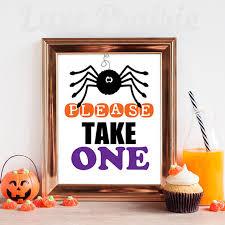 printable halloween sign please take one sign printable