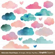 instant download baby shower invitations watercolor clouds shapes clouds clip art baby shower