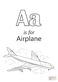a is for airplane coloring page with omeletta me