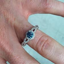 blue diamond wedding rings 3 4ct pave halo blue diamond engagement ring 14k white gold