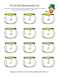 st patrick u0027s day multiplication facts to 49 lucky u0027s pot of