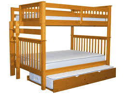 bunk beds full over full end ladder honey trundle 626