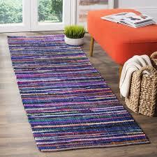 Rag Runner Rug Safavieh Rag Rug Transitional Stripe Woven Cotton Blue Multi