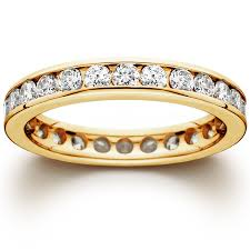 gold eternity rings 1 1 2 ct channel set eternity diamond ring 14k yellow