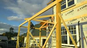 the first roof truss over front porch stay tuned for many more
