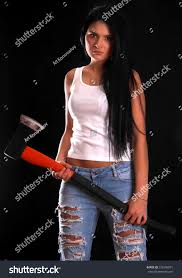 young woman big axe over black stock photo 239336971 shutterstock