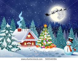 snowy christmas pictures house snowy christmas landscape night christmas stock vector 2018