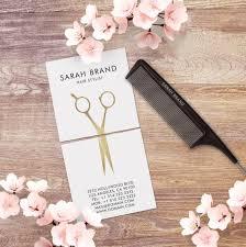 Hairdresser Business Card Templates Faux Gold Foil Scissors Hair Stylist Square Business Card J32 Design