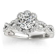 flower engagement rings halo diamond flower engagement ring setting 14k w gold 0 63ct