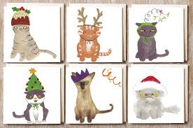 cards with cats designs chrismast cards ideas