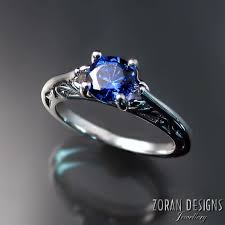 sapphire engagement rings sapphire engagement ring with pretty side detail zoran designs
