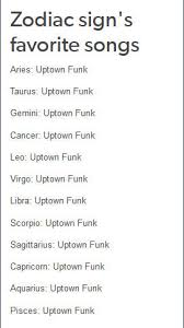 Capricorn Meme - zodiacs favorite song uptown funk know your meme