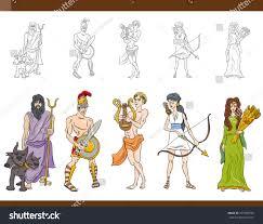 cartoon illustration mythological greek gods goddesses stock