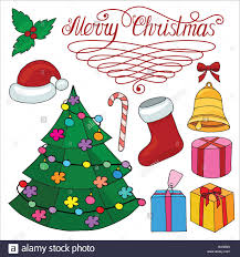 christmas set of design elements with christmas tree bell santa