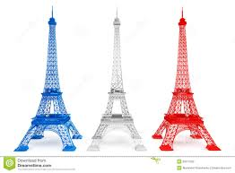 three eiffel towers in french flag colors stock photo image