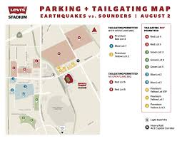 Mall Of America Parking Map by Event Guide Earthquakes Vs Sounders August 2 Levi U0027s Stadium