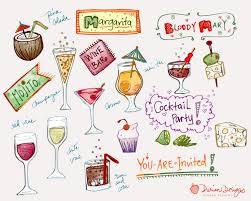 festive cocktail party clipart commercial use wine bar hand
