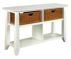 portable sofa table long white sofa table with drawers with black metal knobs