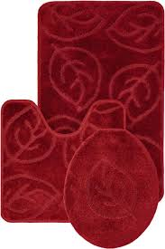 bathroom gorgeous 3 pc red bathroom rug sets with leaf pattern