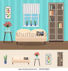 stylish cute living room interior design stock vector 687716938