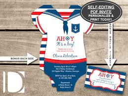 baby shower sports invitations nautical baby shower invitation onesie ahoy it u0027s a boy