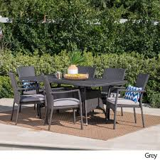 Patio Furniture Without Cushions Thompson Outdoor 7 Wicker Dining Set With Cushions By