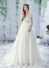 Chapel Train Wedding Dresses Lace Wedding Dress Off The Shoulder Rhinestones Lace Up A Line