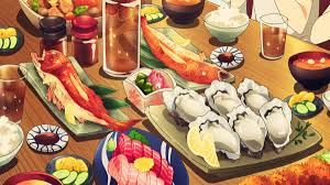 anime aesthetic on happy thanksgiving some anime food