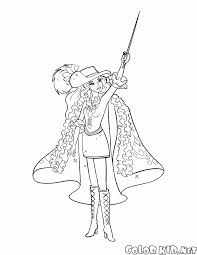 coloring page musketeer barbie