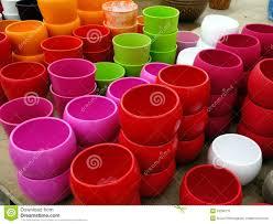 colorful plastic flower pots stock photo image 53299110