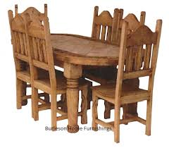 Western Dining Room Oval Rustic Dining Room Set With Marble Inlay Real Wood Western