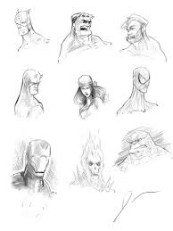 marvel heroes head sketches by dantooine on deviantart