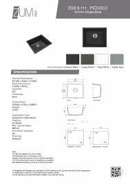 Kitchen Sink Capacity by Piccolo 457mm German Engineered Premium Granite Single Bowl