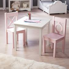 modern kids table kids table chair set 3 piece children play room wood pink white
