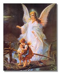 guardian angel with children on bridge religious wall picture art