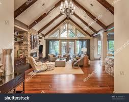 beautiful living room luxury home hardwood stock photo 258629213