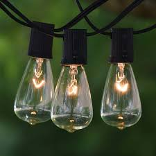 25 ft black c9 string light with vintage edison clear bulbs