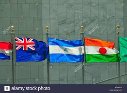 Flag Nicaragua Flags Of New Zealand Nicaragua And Niger Un Headquarters Stock