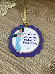 jasmine princess jasmine party favor tags with ribbon