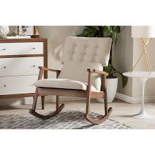 Modern Rocking Chair Nursery Amazon Com Baxton Studio Agatha Mid Century Modern Fabric