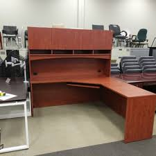 l shaped desk with hutch right return l shaped desk w right return hutch storage oiled cherry laminate