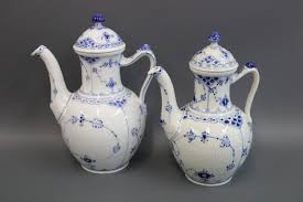 blue fluted half lace porcelain coffeepot by royal copenhagen for