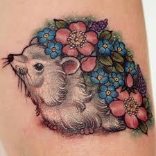 little botanical vintage floral hedgehog tattoo i did at the