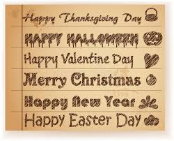 sketch font holiday greeting on paper stock vector image 44389714