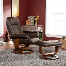 amazon com adjustable cafe brown leather recliner and ottoman
