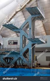 high diving tower indoor pool calgary stock photo 26502343