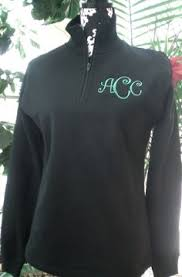 ladies monogram pullover sweatshirt 1 4 zip custom embroidery size