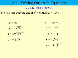 8 1 u2013 solving quadratic equations ppt video online download